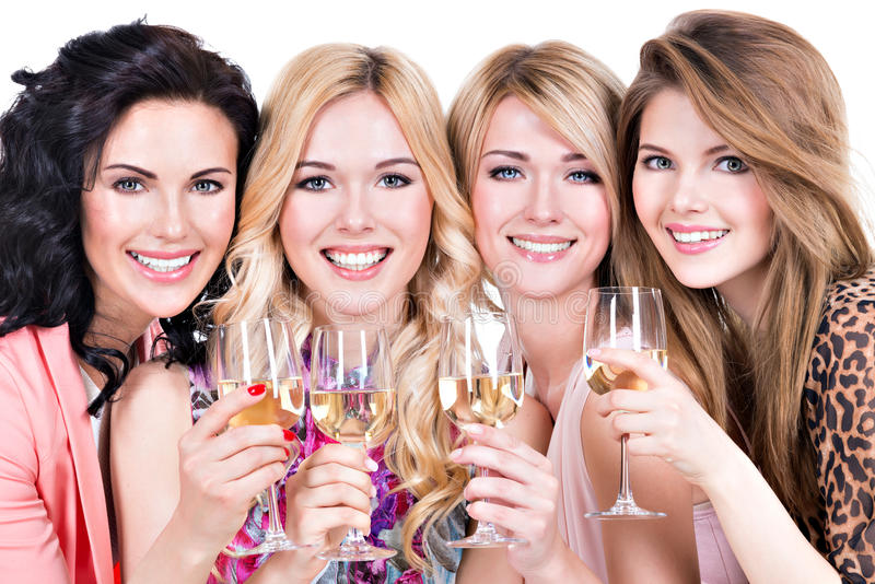 Group of young happy women have party. Group of young happy women have party and drinking wine - isolated on white royalty free stock photos