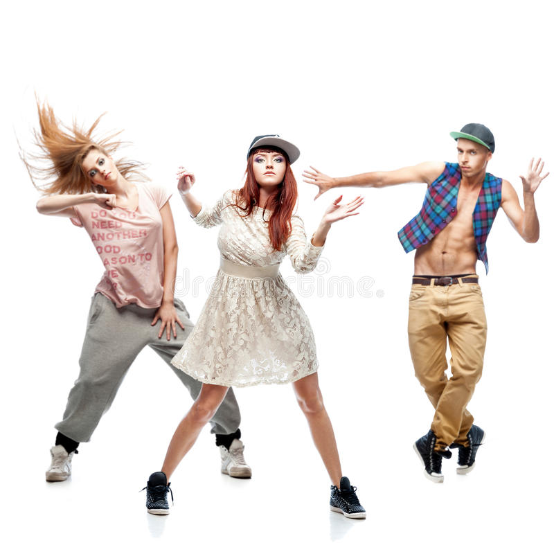 Group of young hip hop dancers on white background. Group of young hip hop dancers isolated on white background stock photography