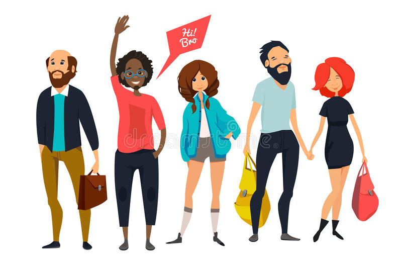 Group of young hipsters. Male and female characters in casual style clothes. Vector cartoon mascot illustrations stock illustration