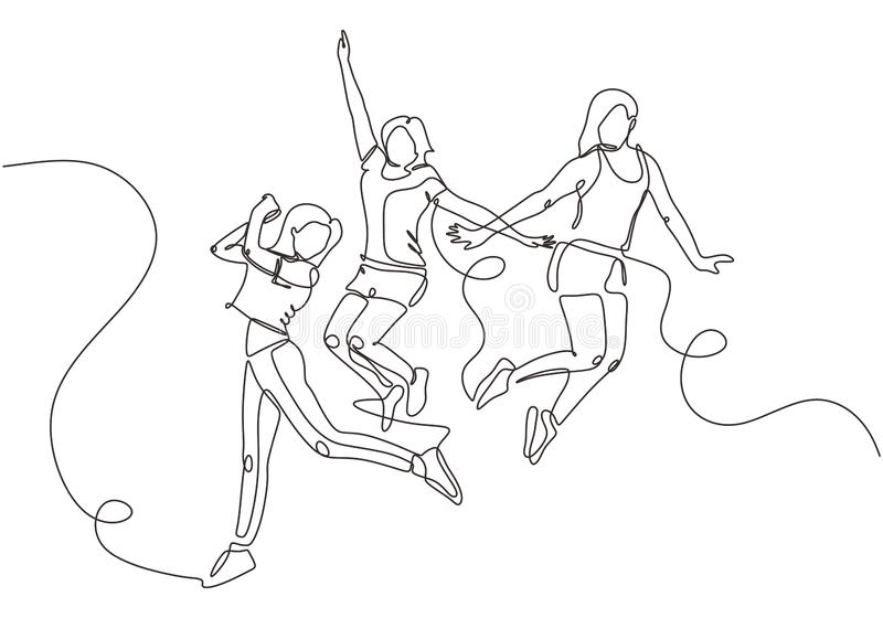 Group of young joyful laughing people jumping with raised hands isolated on white background. Happy positive young men and women vector illustration