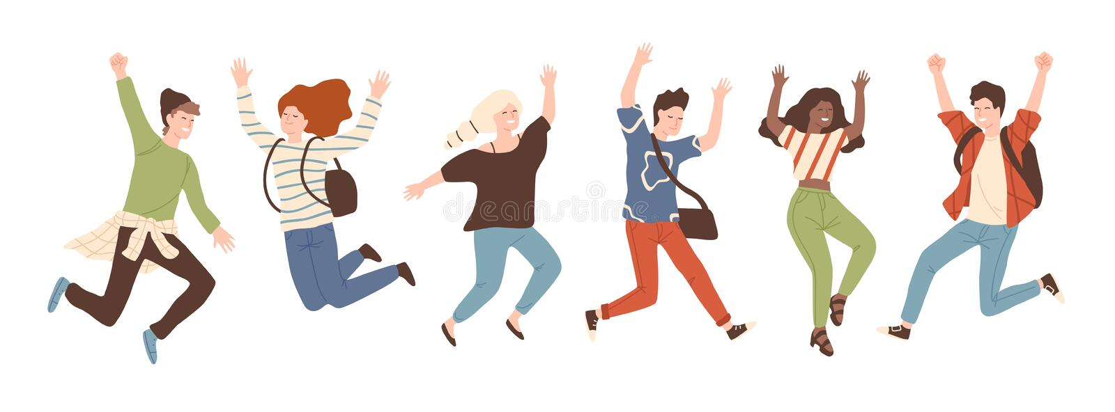 Group of young joyful laughing people jumping with raised hands isolated on white background. Happy positive young men royalty free illustration