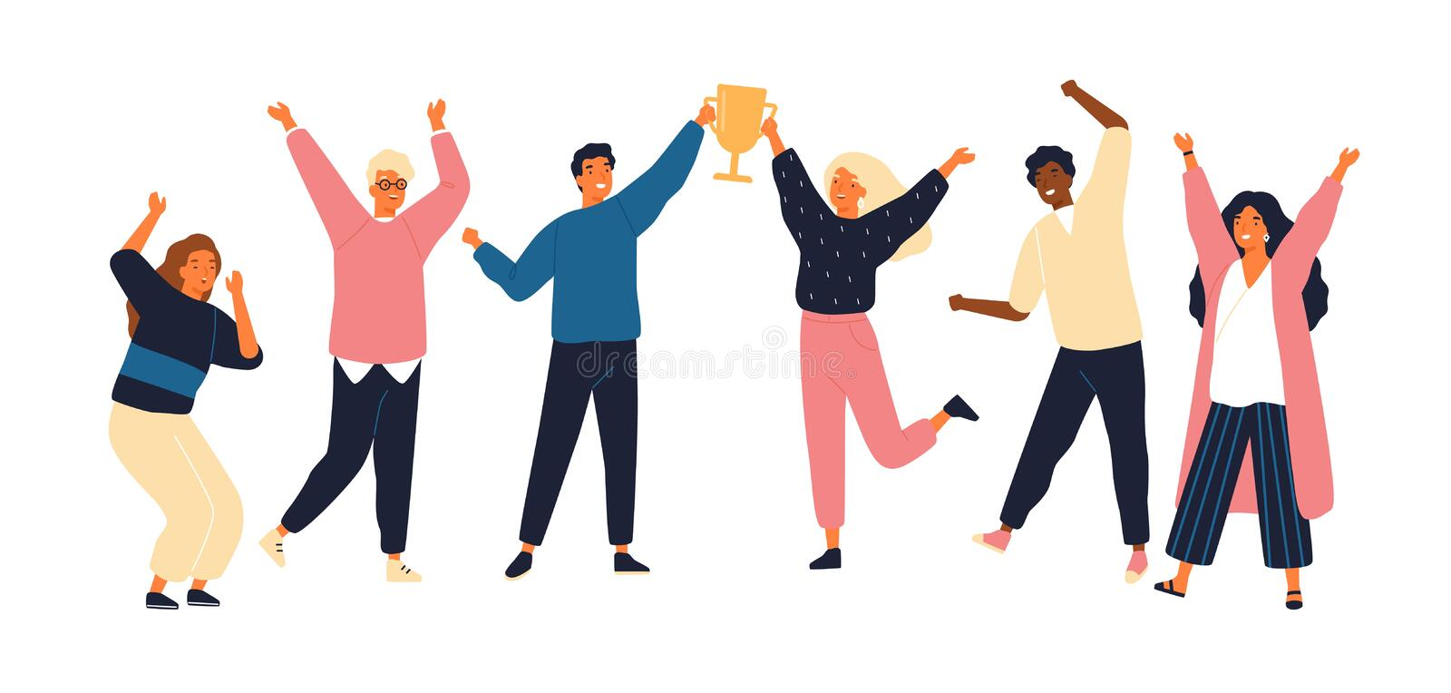 Group of young joyful people with champion cup isolated on white background. Happy positive men and women celebrating. Victory and rejoicing together royalty free illustration