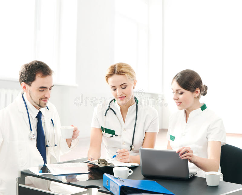 A group of young medical workers together royalty free stock photo