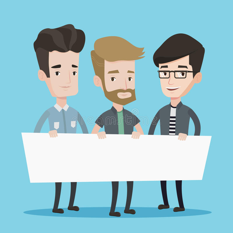 Group of young men holding white blank board. Three men holding white blank board. Group of young students holding an empty board. Vector flat design vector illustration