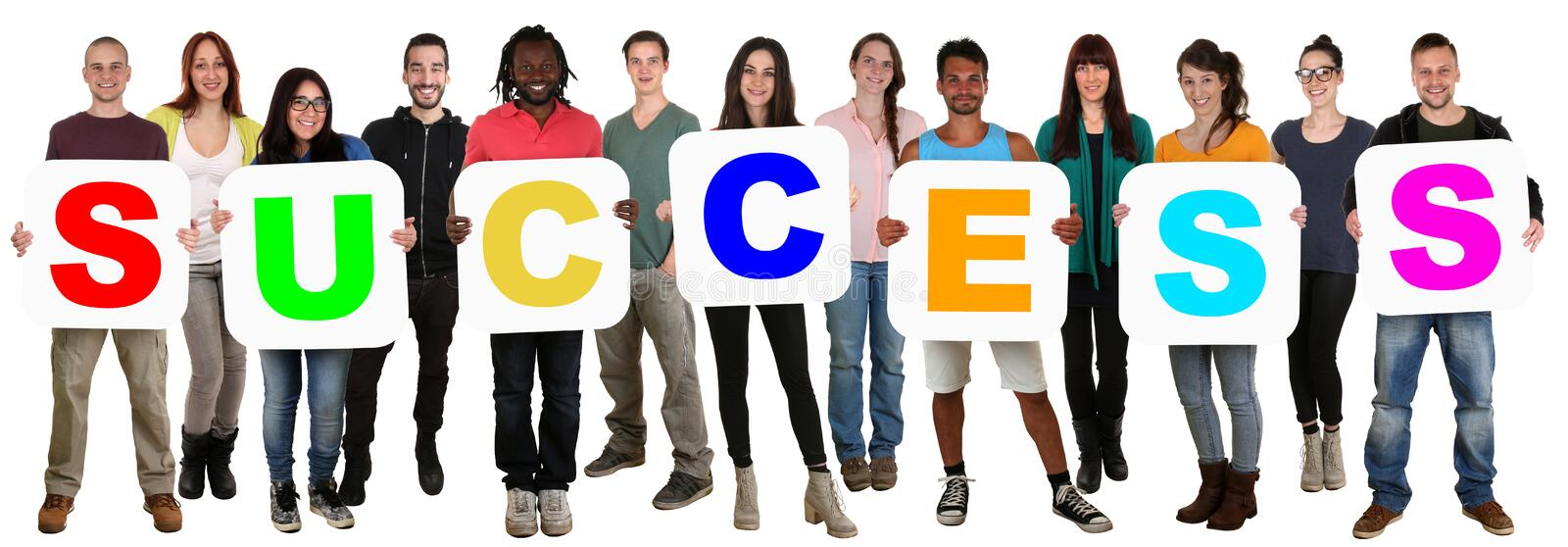 Group of young multi ethnic people holding word success royalty free stock photo