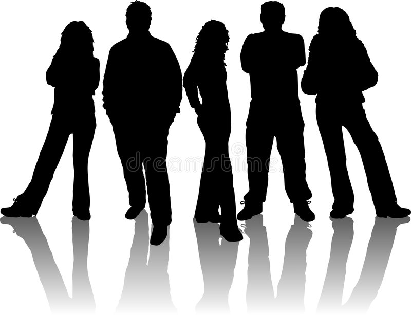 Group of young people stock illustration