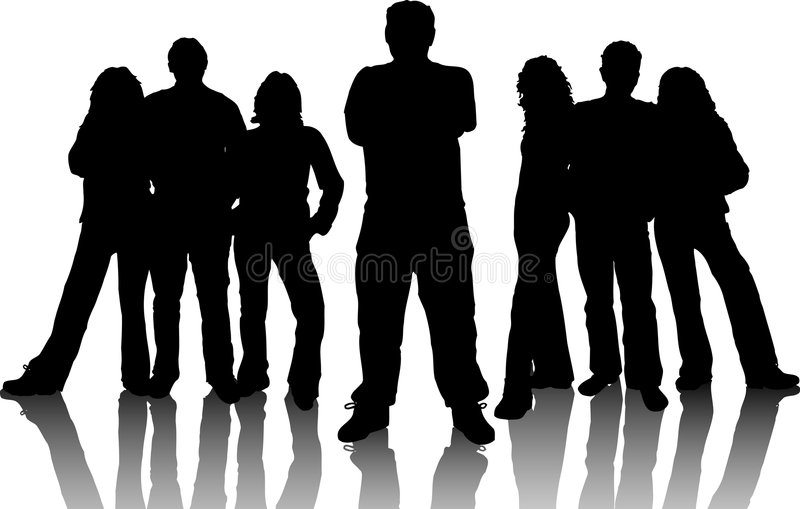 Group of young people royalty free illustration