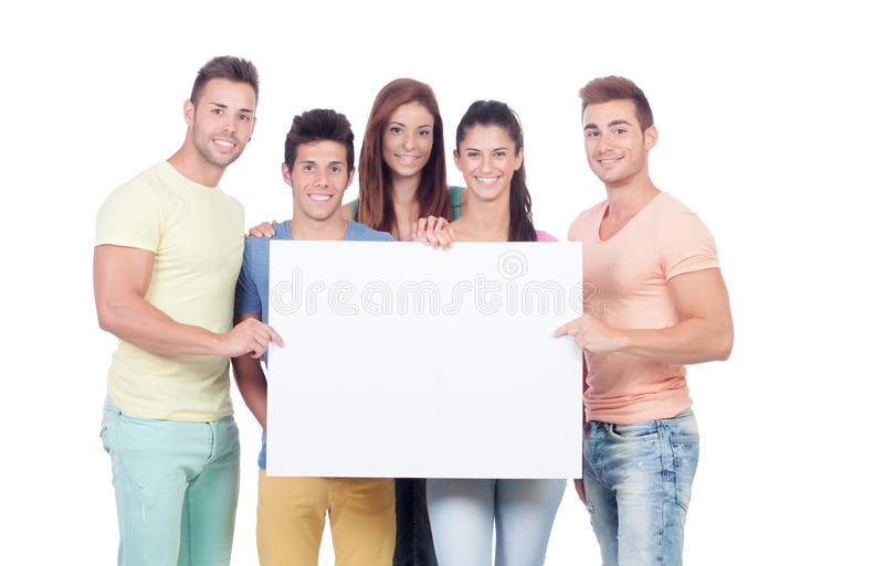 Download Group Of Young People With A Blank Placard Stock Photo - Image of happy, friend: 33855936