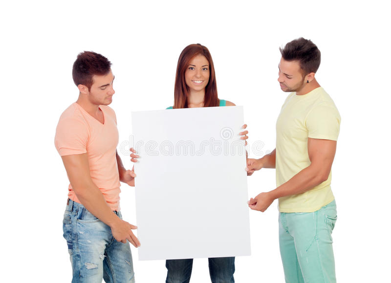 Download Group Of Young People With A Blank Placard Stock Photo - Image: 33858076