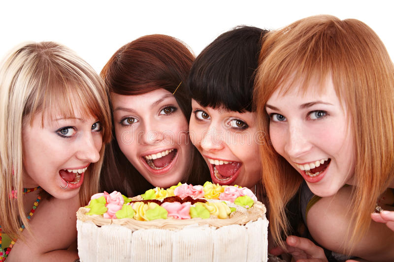 Group of young people celebrate happy birthday. Isolated stock photos