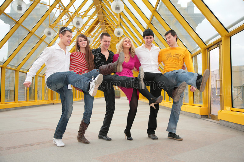 Group of young people dance cancanon royalty free stock photo