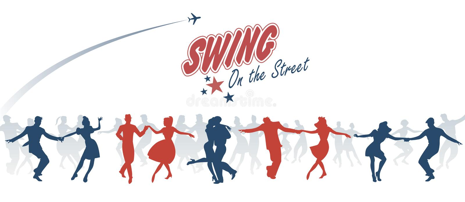 Group of young people dancing swing, lindy or rock`n roll royalty free illustration