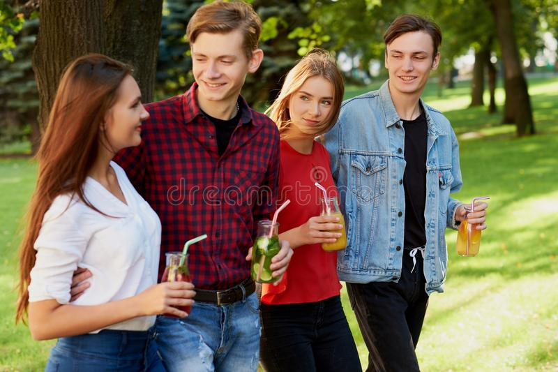 Group of young people with detox royalty free stock images