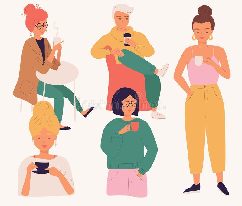 Group of young people drinking coffee. Women and man, young people, sitting and standing, enjoying a beverage, isolated flat royalty free illustration