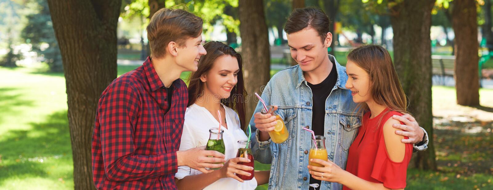 Group of young people enjoys detox stock images