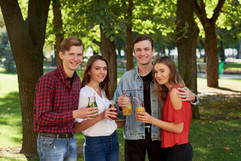 Group of young people enjoys detox royalty free stock photos