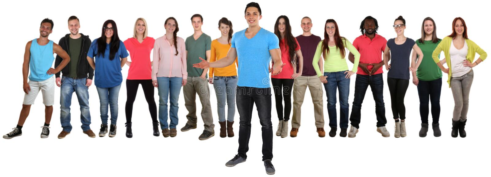 Group of young people friends welcome inviting invitation standing isolated stock images