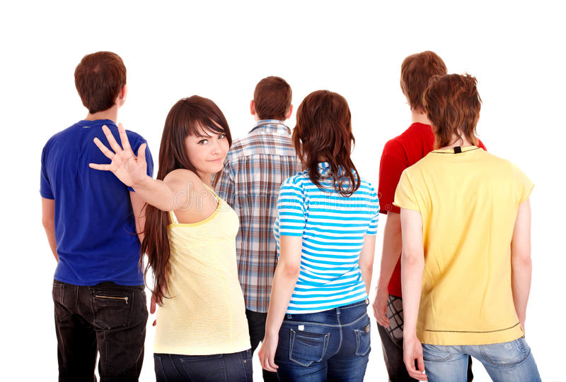 Group of young people go away. stock photos