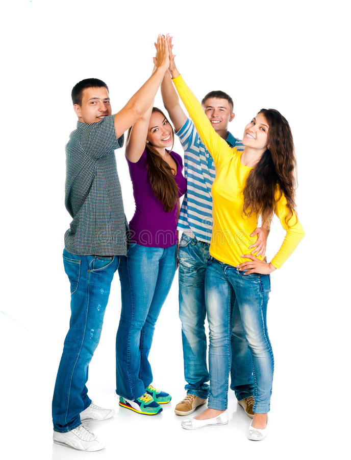 Download Group Of Young People Holding Hands Stock Photo - Image: 26435038