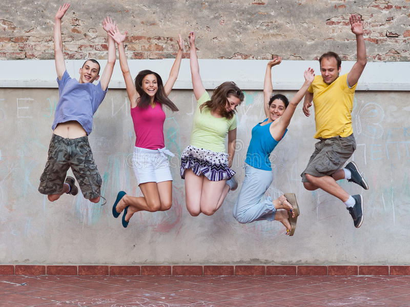 Group Of Young People Jumping Stock Photos