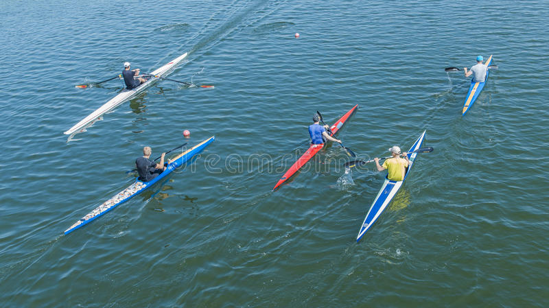 A group of young people kayaking. A group of young people practicing Canoeing at the rowing channel in Moscow stock photos
