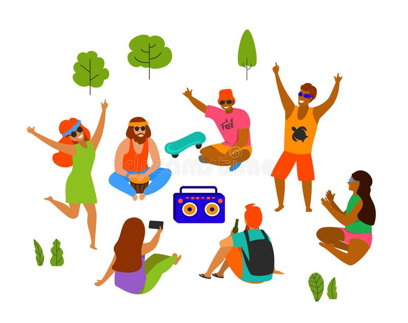 Group of young people, men and women celebrating, dancing, party, playing chilling in the park royalty free illustration