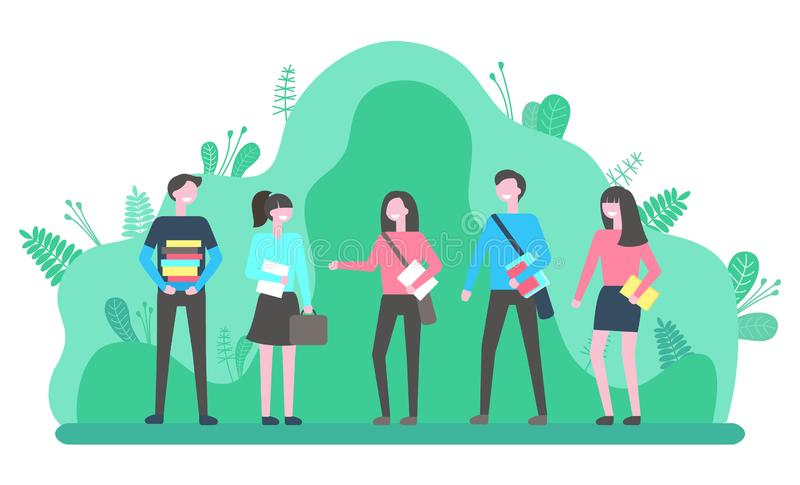 Group of Young People Outdoors Communicate Vector. Group of young people walking in park together. Students holding bags and textbooks have conversation outdoors stock illustration