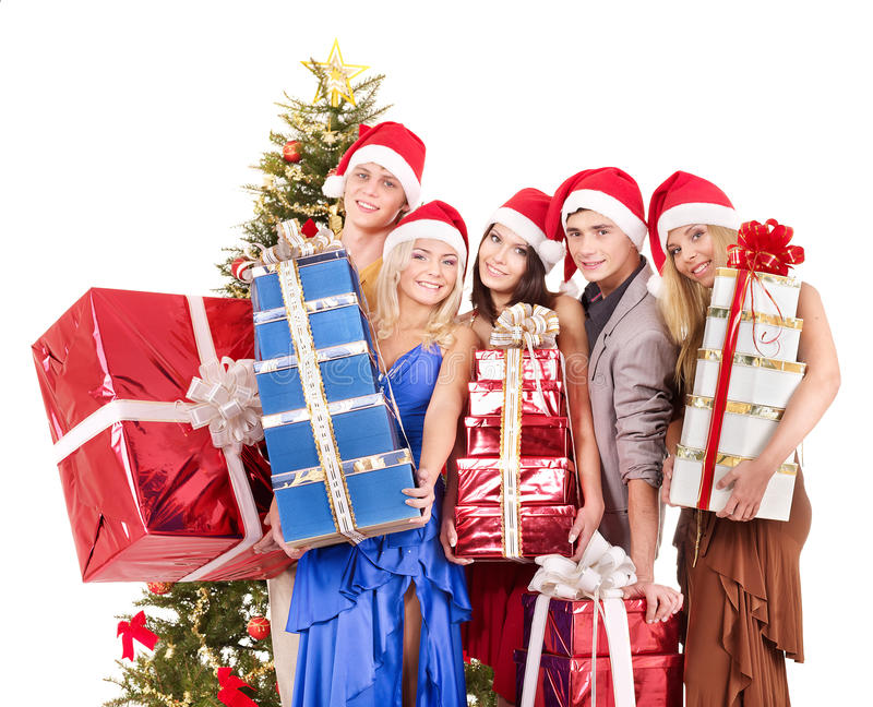 Download Group Young People In Santa Hat. Royalty Free Stock Image - Image: 16715236