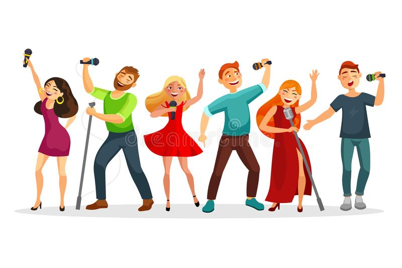 Group of young people singing and dancing with microphones vector illustration in flat design. People collection royalty free illustration