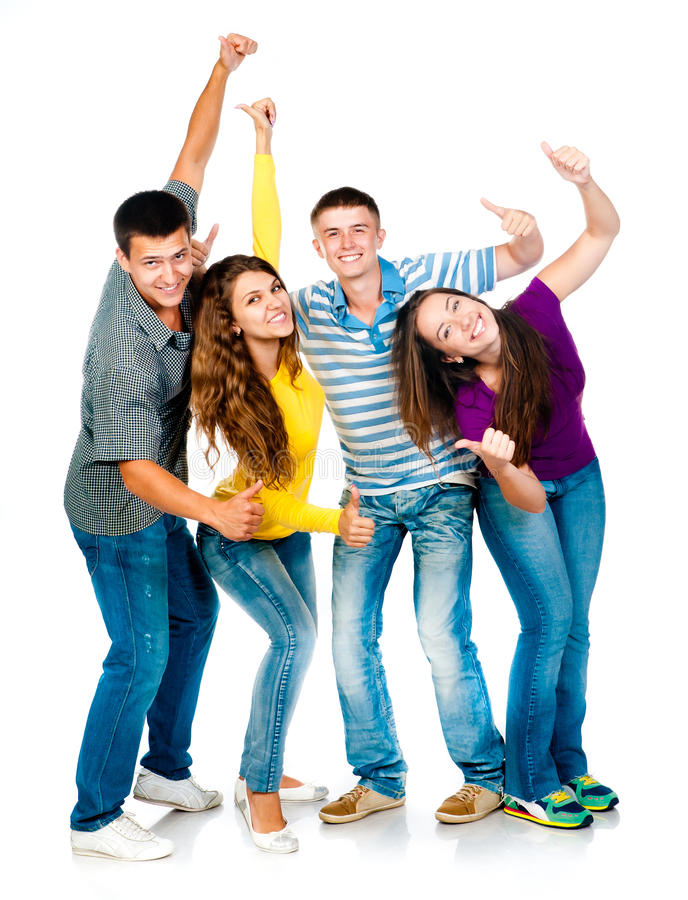 Download Group Of Young People With Thumbs Up Stock Image - Image: 25807543