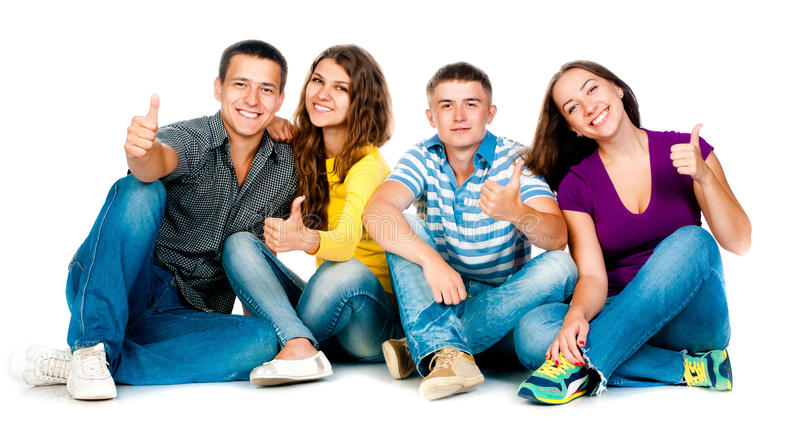 Download Group Of Young People With Thumbs Up Stock Photography - Image: 26435002
