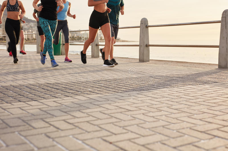 Group of young people working out in the city royalty free stock images