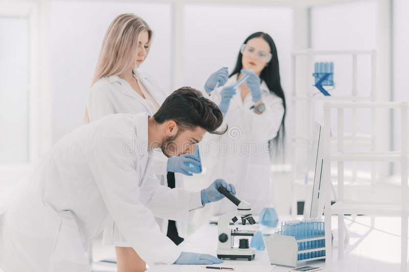Group of young scientist experimenting in the laboratory stock photos