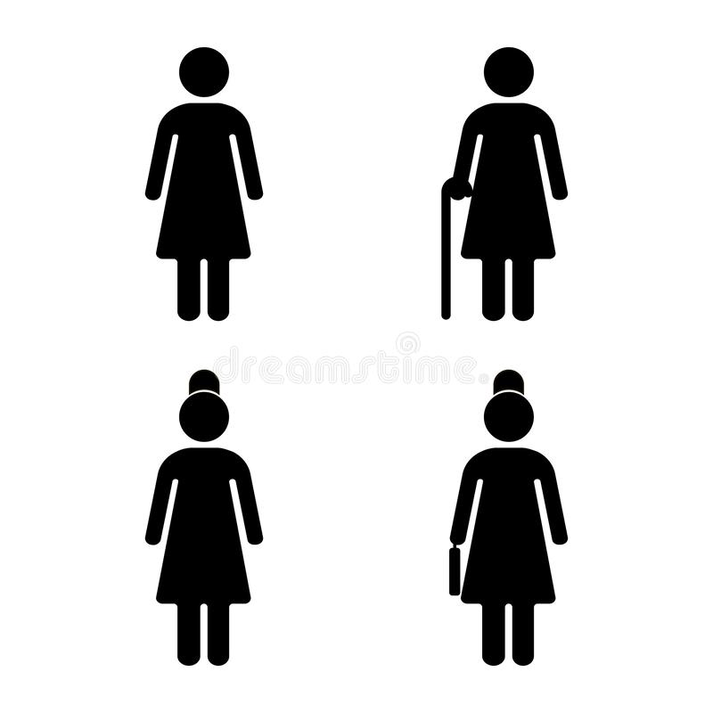 Group of young and senior women. Young and elderly person on white background. Vector illustration royalty free illustration