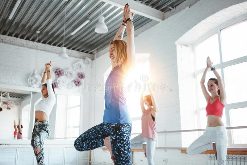 Group of young slim woman practice yoga exercise indoor class. People doing fitness together royalty free stock image