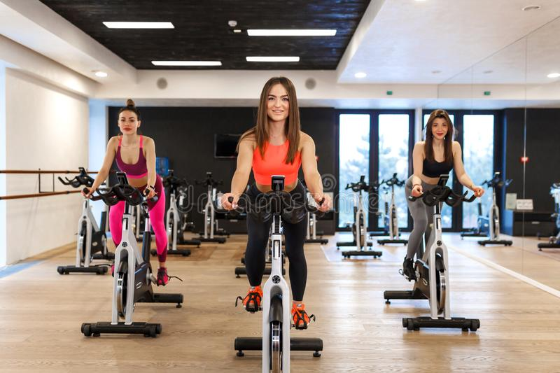 Group of young slim women workout on exercise bike in gym. Sport and wellness lifestyle concept royalty free stock photos