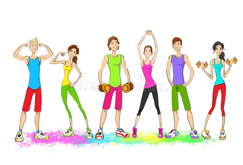 Group of young sport people, colorful clothes man stock illustration