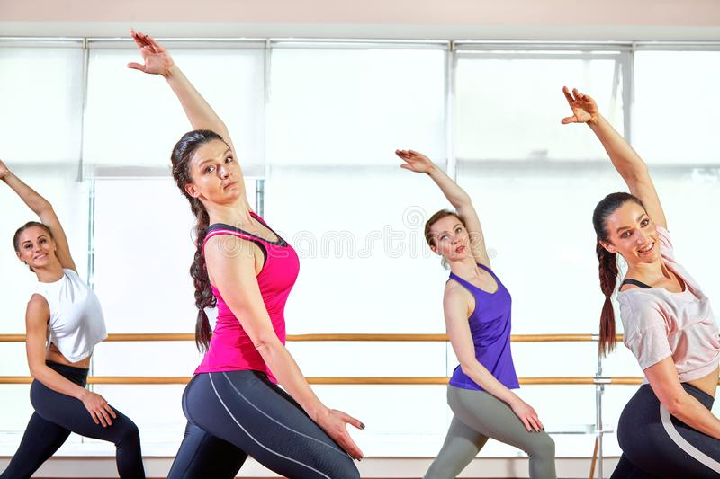 Group of young sporty attractive people practicing yoga lesson with instructor, standing together in exercise, working. Out, full length, studio background royalty free stock photo