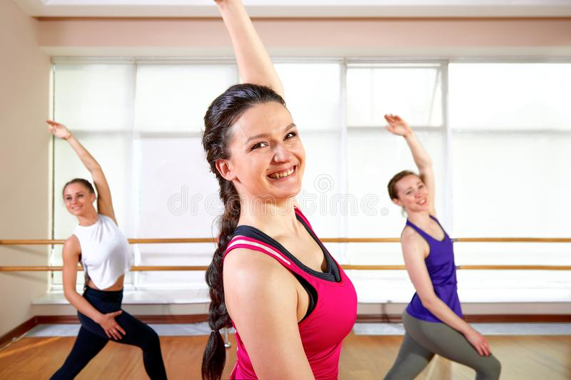 Group of young sporty attractive people practicing yoga lesson with instructor, standing together in exercise, working. Out, full length, studio background royalty free stock image