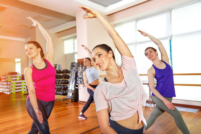 Group of young sporty attractive people practicing yoga lesson with instructor, standing together in exercise, working. Out, full length, studio background stock photography