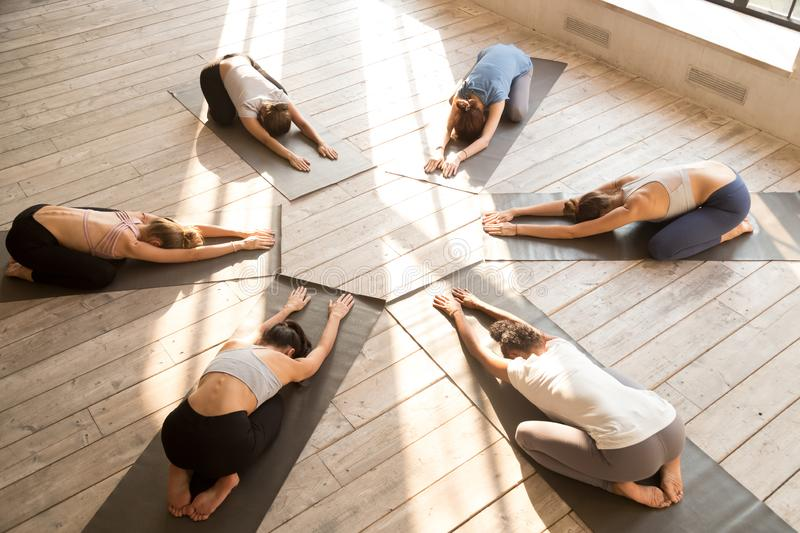 Group of young sporty people practicing yoga lesson, Balasana po royalty free stock image