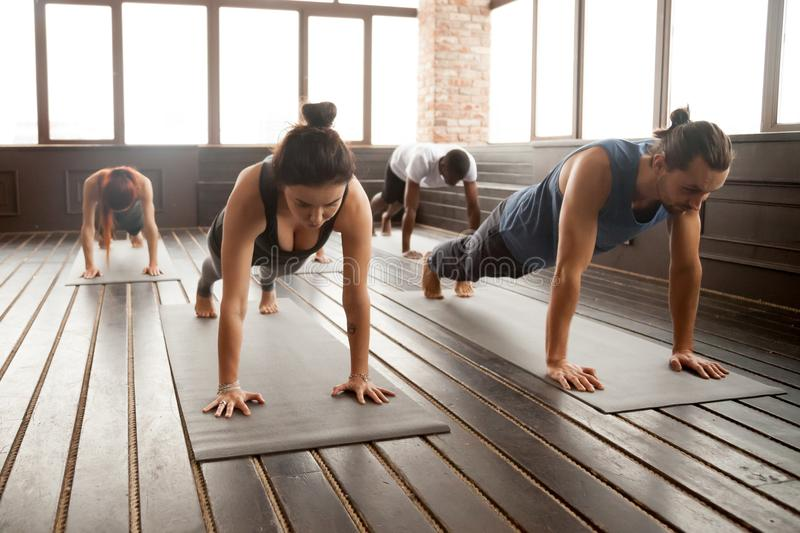 Group of young sporty people standing in Plank pose royalty free stock image