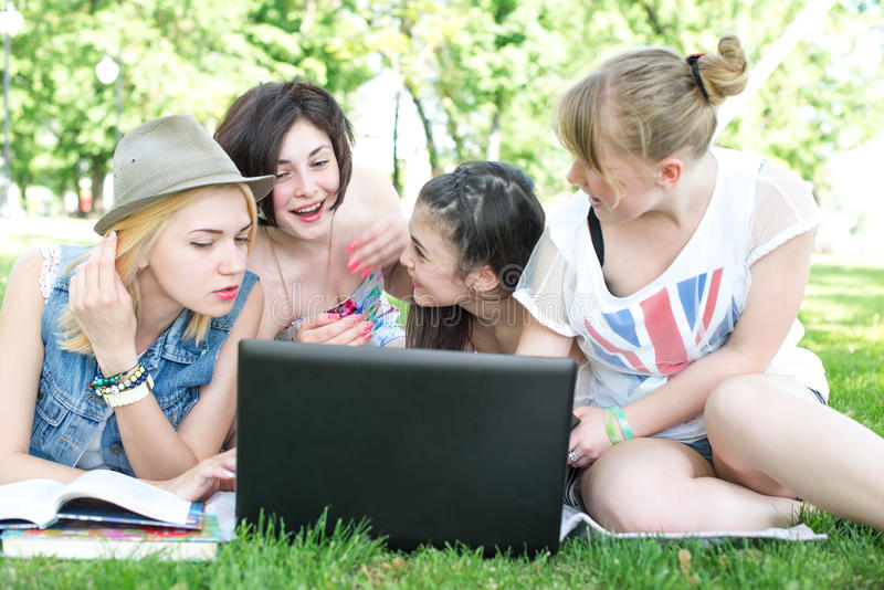 Group of young student using laptop together. In the park royalty free stock photography