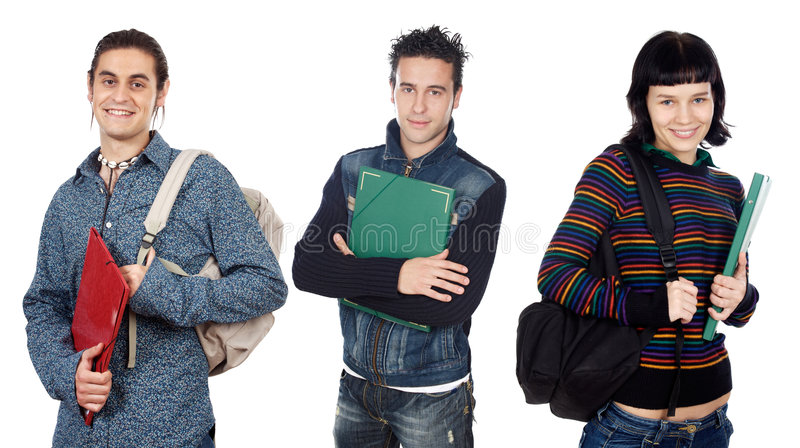 Group of young students stock photography