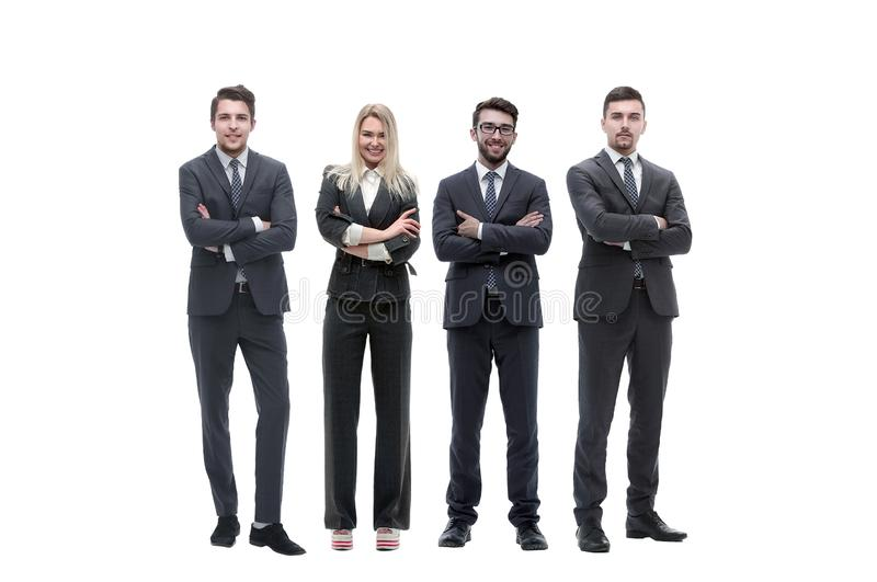 Group of young successful entrepreneurs standing in a row stock photography