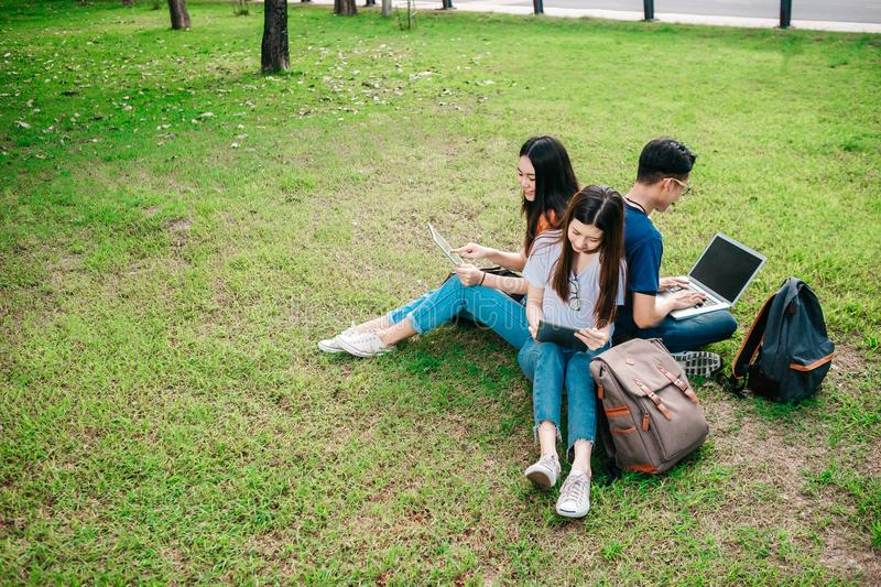 A group of young or teen Asian student in university stock photos