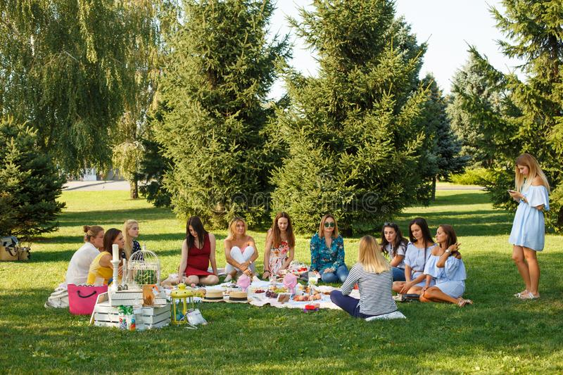 Group of young women sit on picnic blanket in green summer park. Summer weekends royalty free stock image