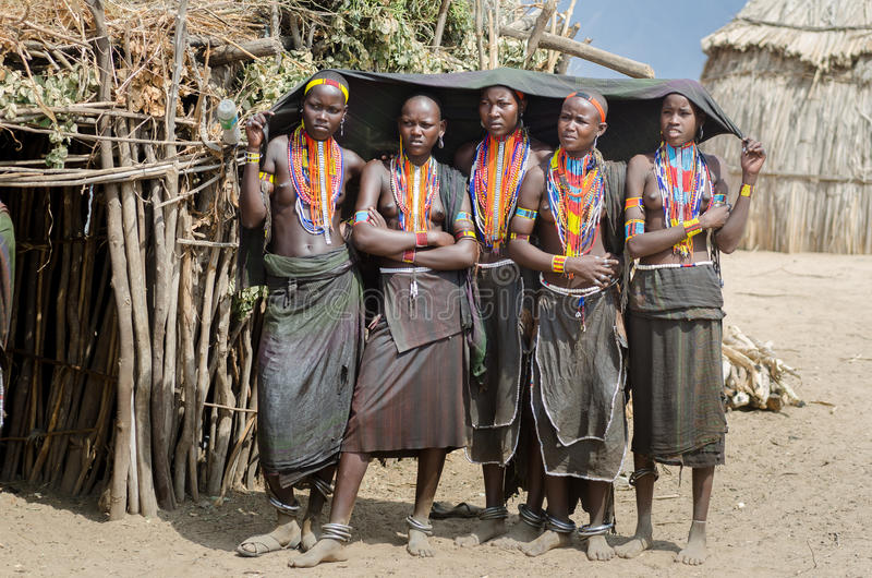 Group of young women from Arbore tribe, Ethiopia stock photography