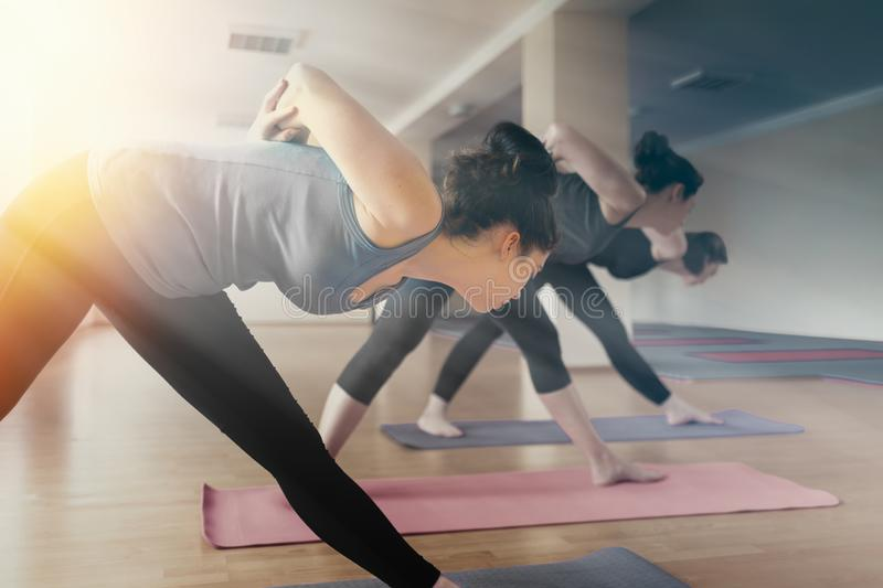 A group of young women doing yoga in the classroom. The concept of sports lifestyle, health and spiritual balance. Tint royalty free stock photo