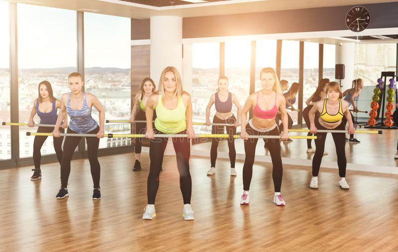 Group of young women in the fitness class royalty free stock images
